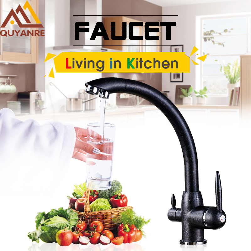 Quyanre Pure Water Kitchen Sink Faucet Torneira 360 Rotation Purified Drinking Water Filter Tap 2 Handles 3 Flows grifo cocina