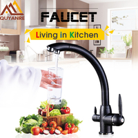 Quyanre Pure Water Kitchen Sink Faucet Torneira 360 Rotation Purified Drinking Water Filter Tap 2 Handles