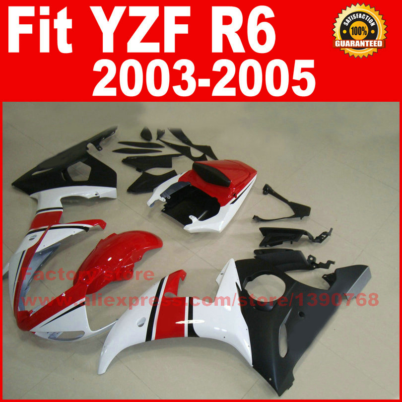 Road/racing motorcycle factory fairings kit for YAMAHA R6 2003 2004 2005 YZF R6 03 04 05 red white fairing kits road race motorcycle fairings kit for yamaha r6 2003 2004 2005 yzf r6 03 04 05 black silver fairing kits bodywork part