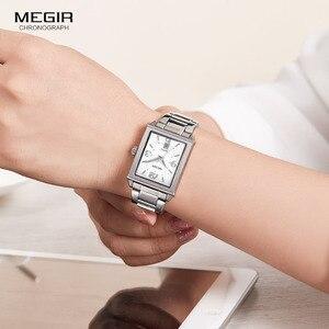 Image 4 - Megir נשים פשוט נירוסטה קוורץ שעון עם לוח שנה תאריך תצוגת אופנה עמיד למים שמלת שעון יד עבור Ladies1079L