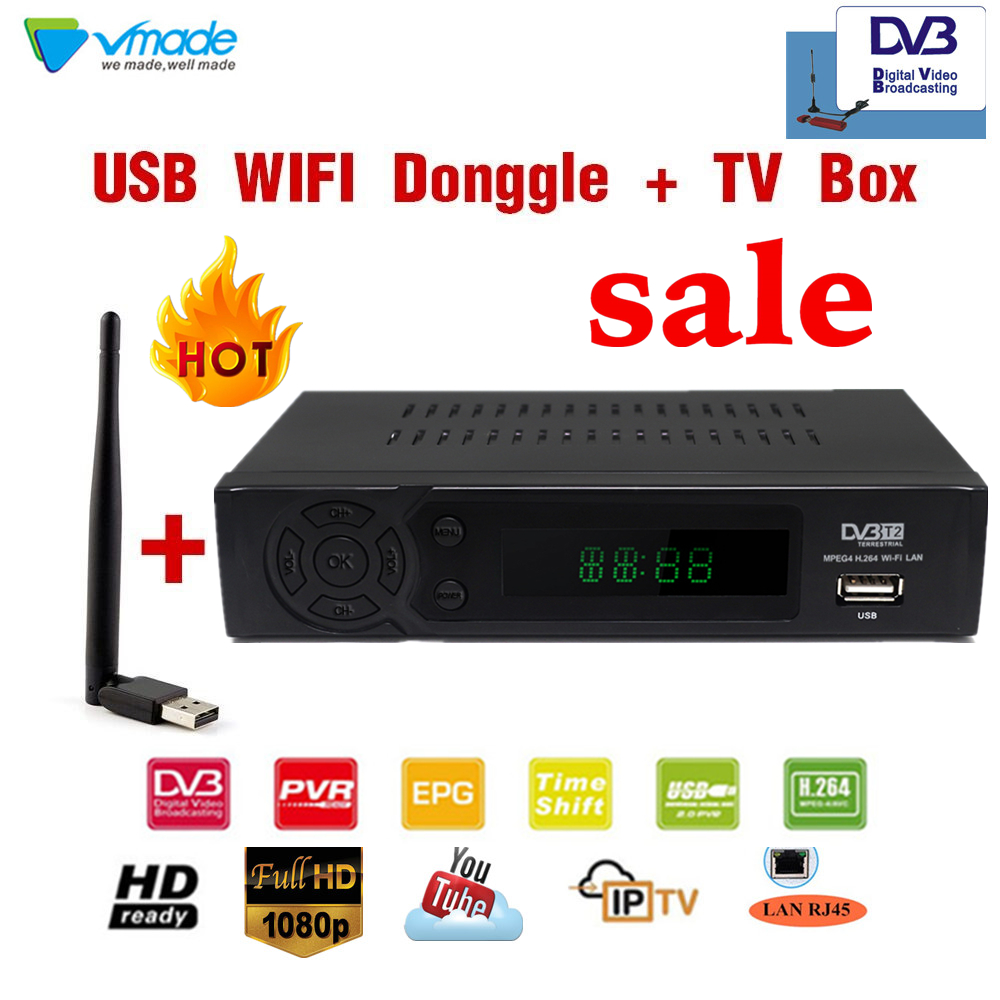 Vmade DVB T2 8939+WIFI Dongle HD TV BOX DVB-T2 in terrestrial receiver tv  box tv tuner with RJ45 network interface set top boxes