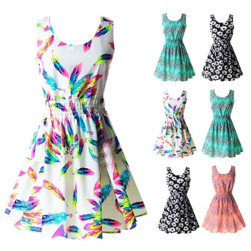 77c47a81ddffa Summer Women Sleeveless Dress Ladies Fashion Floral Print Chiffon Mini  Dress Female Prairie Chic Casual Beach Short Dress