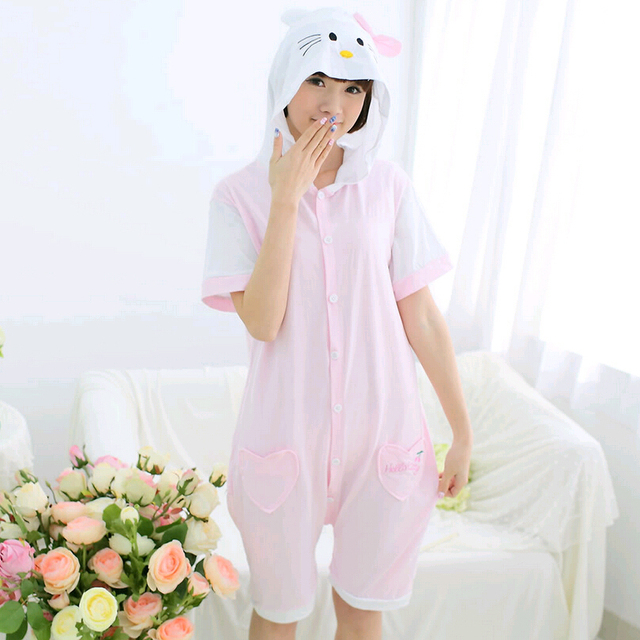 467f59ecca05 Hello Kitty Onesies Pajamas Cosplay Costume Summer Onesies For Women Short  Sleeve Cartoon Sleepwear Animal Pyjama