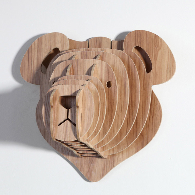Charmant Cute Teddy The Bear Wall Decoration Wood Animal Head For Home Decoration  Wooden Furniture Wild Bear