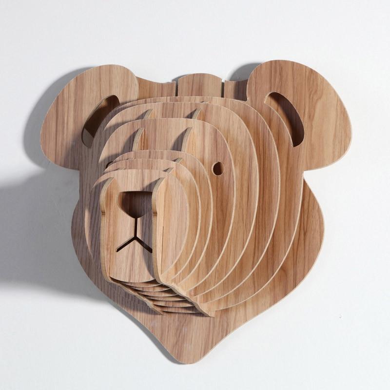 leuke teddy de beer wanddecoratie hout dier hoofd voor