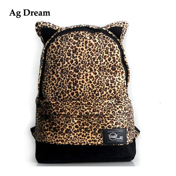 New Winter Cat Ears Leopard Backpack Fashionable Female Bag Woman Big Backpack  Leopard Print Mochilas.E068