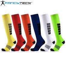 Fancyteck meias de compressão unisex 6 pares/lote antifadiga correndo ciclismo meias alívio dor suor absorvente respirável meia