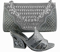 GF52 Silver color,Italian shoes matching bags for weddding/party.High quality material with shoes and bag set to matching.