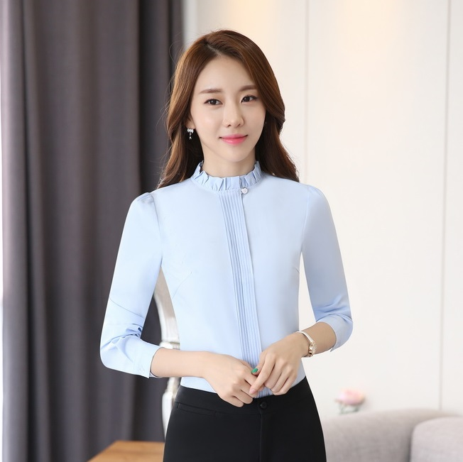 Spring Fall Formal Shirts Women Work Blouses Light Blue