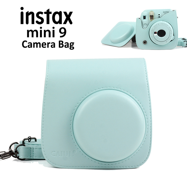 5a3685c92f9d Ice Blue Carrying PU Leather Bag Case Cover with Shoulder Strap For Fujifilm  Instax Mini 9 Mini 8 Instant Film Photo Camera