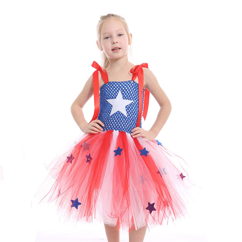 Red White and Blue Clothes Birthday Girl Toddler Kids Princess Short Captain America Dre ...