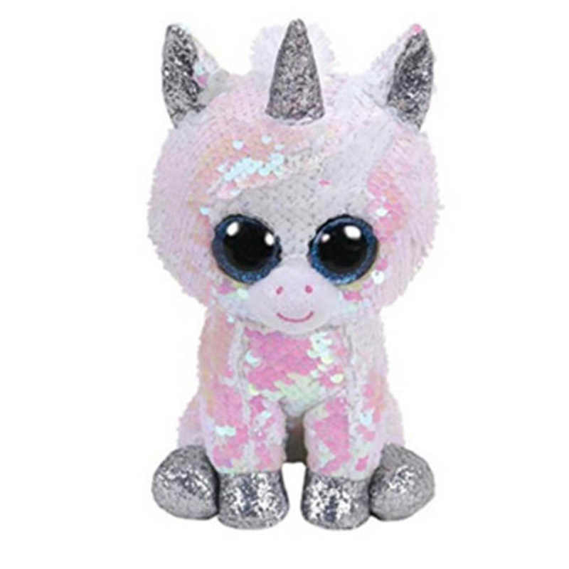 Detail Feedback Questions about TY Beanie Boos 15cm white sequin Unicorn  Dog Owl Danger Alpaca Dragon Plush Toys Big Eyes Eyed Stuffed Animal Soft  Toy Kids ... b9b391aa66f0