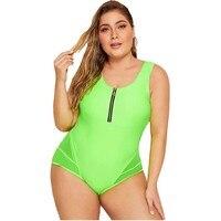 2019 New Big Plus Size Xxl Xxxl One Piece Swimsuit Sexy Bathing Suit Neon Green Swimwear Female Beach 1 Piece Swim Suit Women