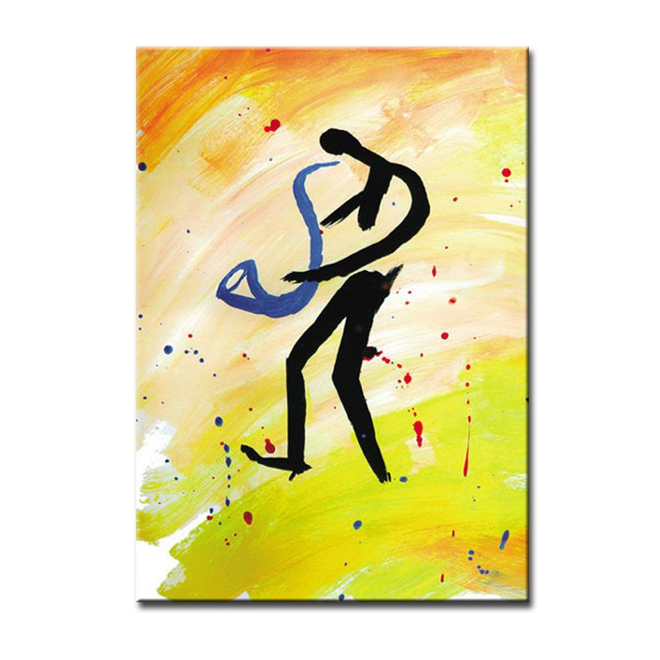 2016 NEW100% Handpainted saxophone player abstract music Oil ...