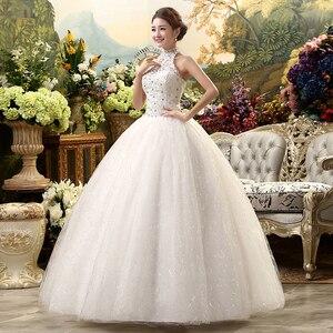 Image 4 - Fansmile 2020 Cheap Halter Lace Wedding Dress Vintage Vestidos de Novia Plus Size Bride Dress Under $100 Free Shipping FSM 040F