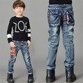 2017 Moda Primavera Criança Crianças Calças Jeans Meninos Calças Jeans Luz lavagem de Jeans Meninos para Meninos Regulares Elástico Da Cintura das calças de Brim das Crianças P259