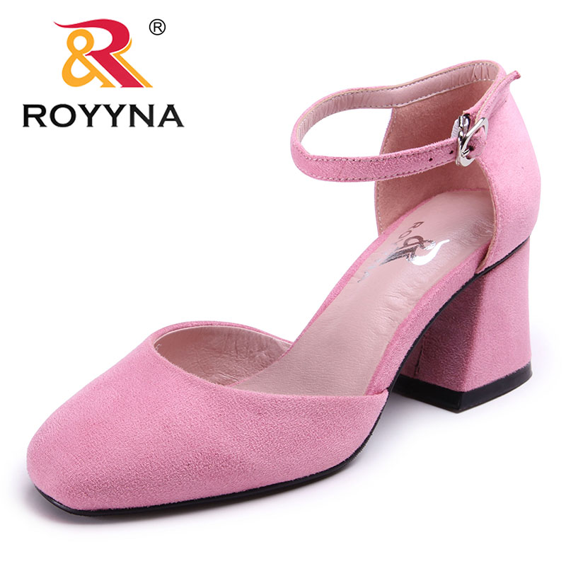 ROYYNA New Arrival Sweet Style Women Pumps Square Toe Women Dress Shoes Flock Lady Wedding Shoes Comfortable Fast Free Shipping royyna new sweet style women sandals cover heel summer gingham women shoes casual gladiator ladies shoes soft fast free shipping