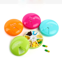 Round Outdoor Travel Mini Pill Boxes Portable 7-Day Rotating Medicine Box Tablet Dispenser Storage Container Cute Candy Color