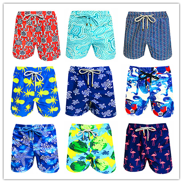 2019 Vilebre Beach Board Short Men Turtle Conch Cupid Arrow Pineapple Seagull Flamingos Elk Red Shrimp Elastic Waist Swimwear