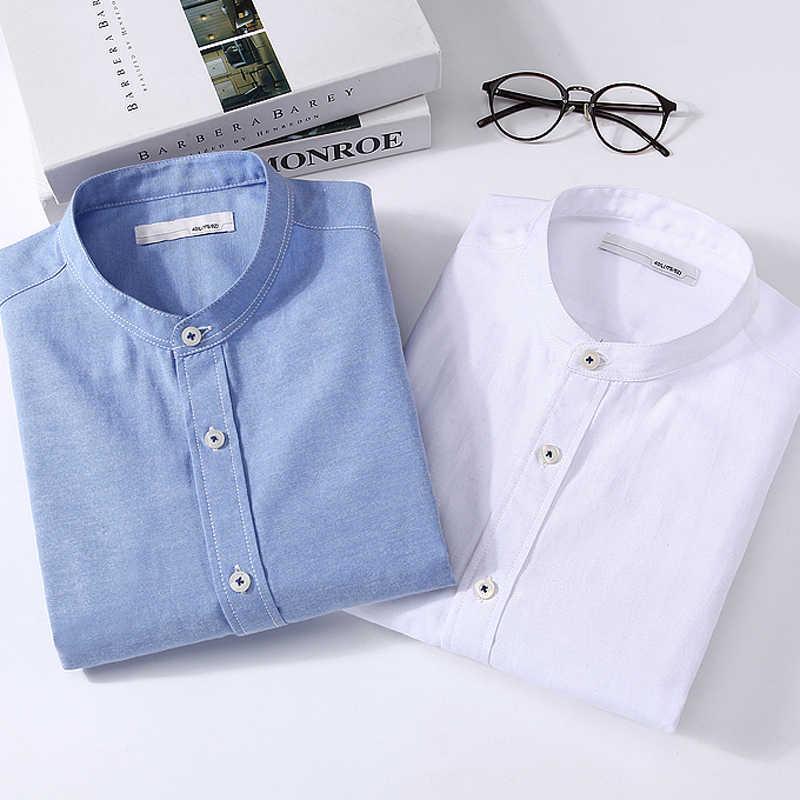 LANGMENG 2017 Мужская Повседневная рубашка больших размеров 5XL мужские деловые рубашки с длинными рукавами брендовая Однотонная рубашка белый синий воротник стойка