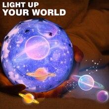 Светодиодный ночник вращающийся проектор спин звёздное небо Вселенной планета ночник для детей сон романтическая лампа домашний декор