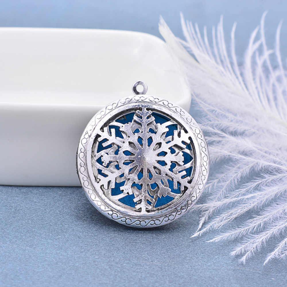 70cm Vintage naszyjnik aromaterapia OLEJEK ETERYCZNY dyfuzor naszyjnik zdjęcia medalion naszyjnik wisiorek perfumy naszyjnik z płatkami śniegu