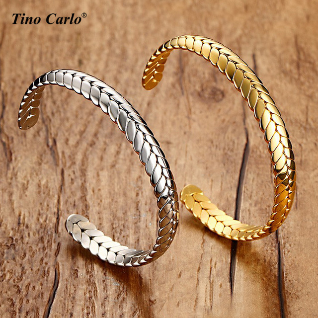 9441877d964 Wheat Design Women Cuff Bracelets 8MM Stainless Steel Or Gold Color Men  Bangles Opening Adjustable Size SFB124