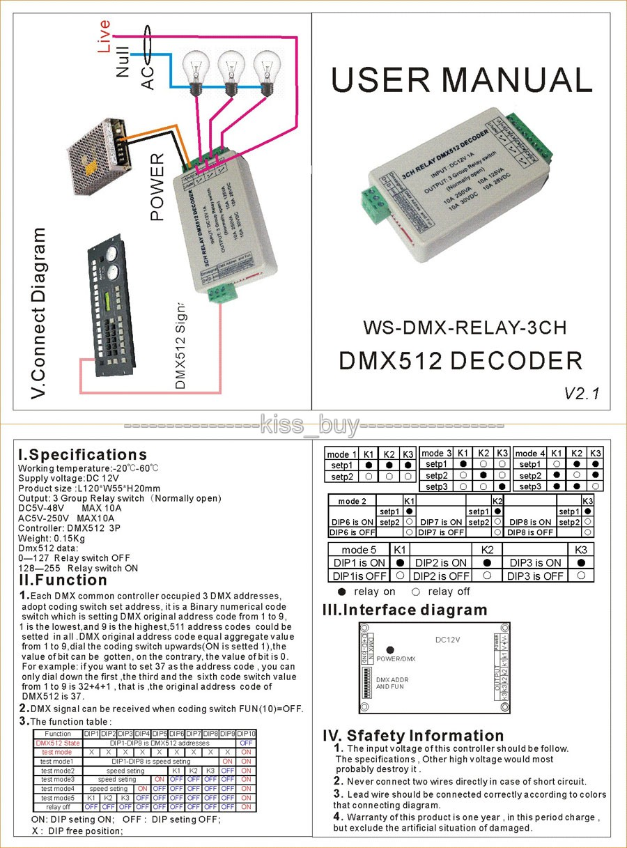 3 Channel Dmx512 Relay Switch 3ch Led Lighting Decoder Schematic Normally Open Controller Lamp Dc 12v In Integrated Circuits From Electronic Components Supplies On