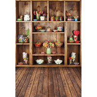 Vintage Brown Cabinet Candy Photography Backdrops Wood Floor Computer Printed Vinyl Children Kids Backgrounds For Photo