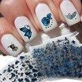 24 unids/lote Nail Art Stickers Bluesky Metálico Flor de Mariposa Diseño Malette Outil Nail Fashion Calcomanías Unghie Malette Outil