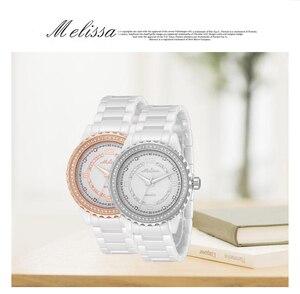 Image 4 - Fashion Lovers Blue Ceramic Watches Elegant Fashion Men Women Bracelet Wrist watch Crystals Quartz Relogios Montre Femme F8147