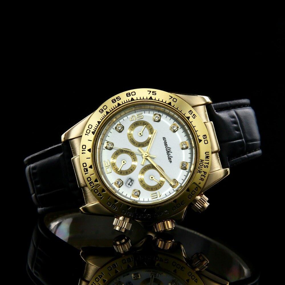 Wealthstar Luxury Men Women Roles Sports Watches Master Leather Strap  Quartz Auto Datejust 40mm Watches