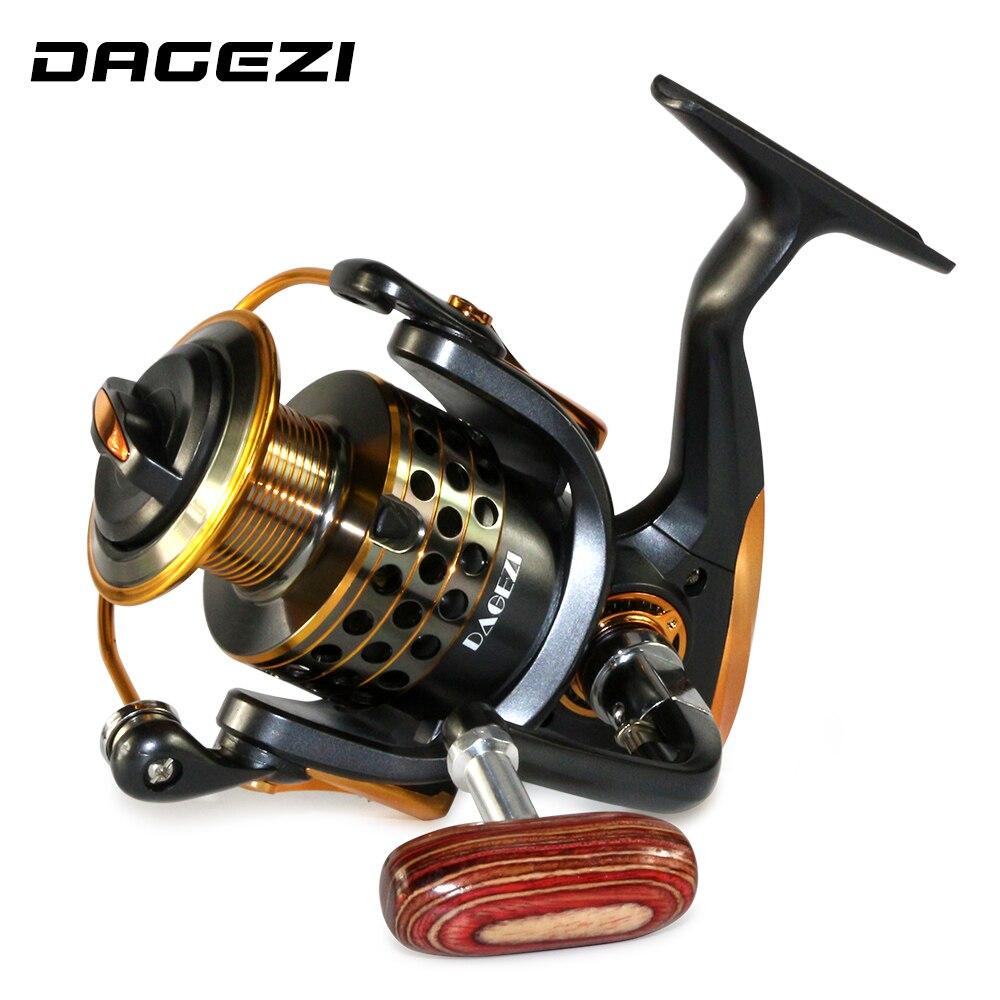 DAGEZI 13 + 1BB bobina di filatura di pesca Completamente in metallo Maniglia di legno bobine di pesca 1000-7000 series Gapless metallo testa ruota che gira
