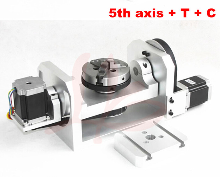 CNC 4th axis/5th axis ( A aixs, Rotary axis ) with chuck for cnc router cnc 5 axis a aixs rotary axis three jaw chuck type for cnc router