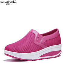 WHOHOLL Women Casual Shoes Thick Bottom Platform Sneaker Vulcanize Ladies Air Mesh Woman Solid Footwear