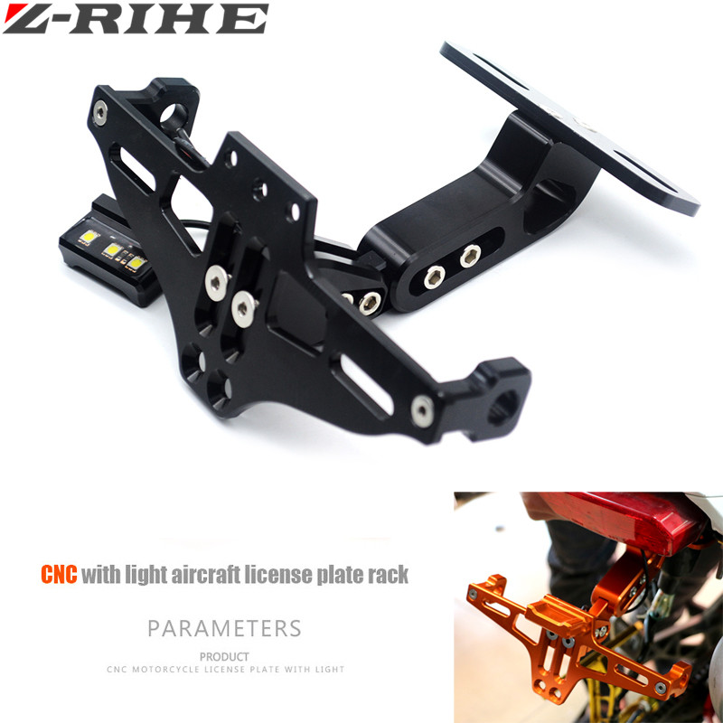 Motorcycle Parts Universal motorbike Adjustable Angle Aluminum License Number Plate Frame Holder Bracket For Honda Yamaha SUZUKI universal motorcycle adjustable angle aluminum license number plate frame holder bracket for ktm duke 200 390 sx f exc f 85 sx