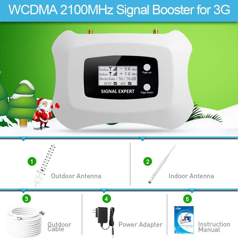 2019 conception de mode 3G amplificateur de Signal LCD UMTS 2100 MHz répéteur de Signal Mobile 3G amplificateur de téléphone portable Yagi + kit d'antenne fouet