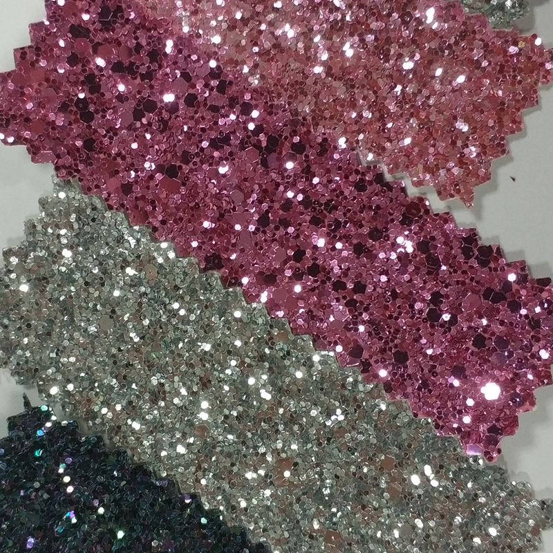 15m 3d Chunky Glitter Fabric pu leather for diy bags shoes Decoration