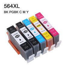 5Pcs compatible ink cartridge for HP 564 564XL for hp Photosmart 5510 5511 5512 5514 5515 5520 5522 5525 6510 6512 6515 6520