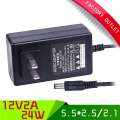 1pcs High Quality Black 5.5*2.5mm Jack US Plug AC 100-240V Power Adapter DC 12V 2A 24W Switching Power Supply