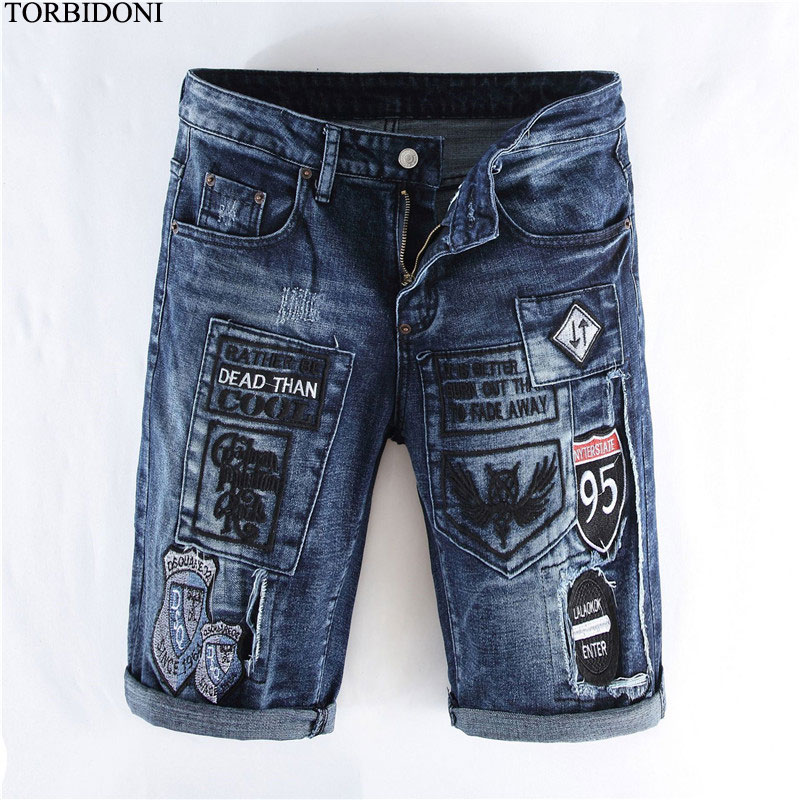 Fashion Summer Denim Shorts Mens Hip Hop Badge Design Jeans Shorts Patchwork Calca Jeans ...