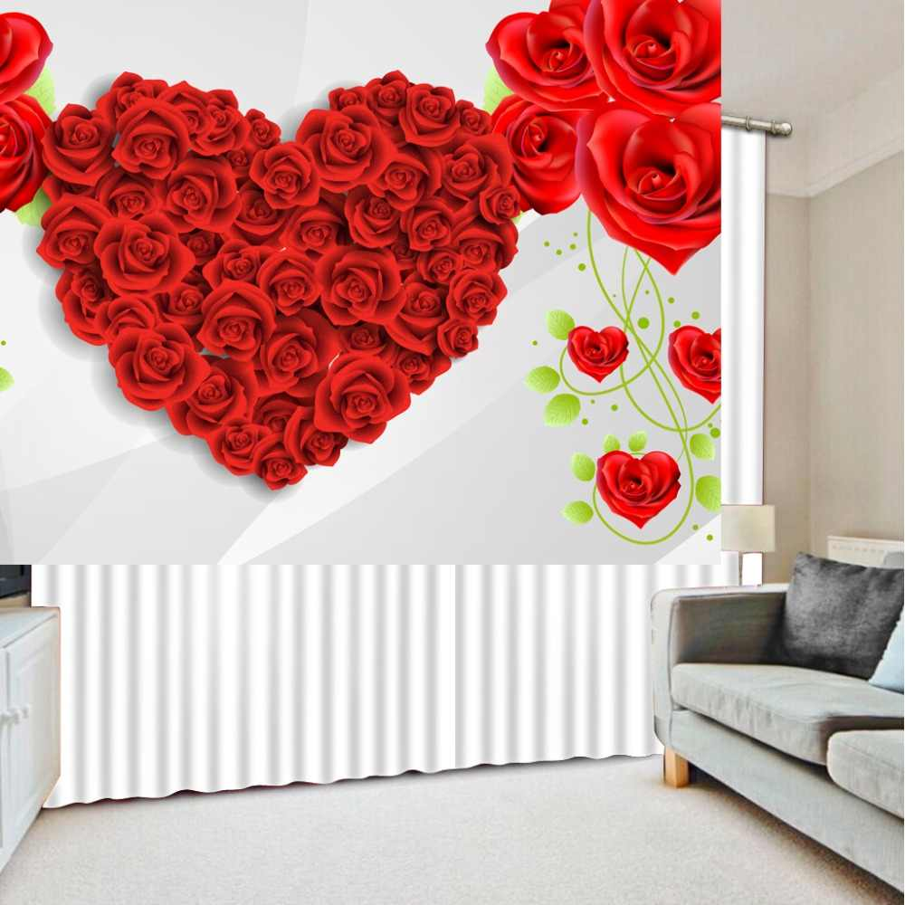 red heart rose flower curtains 3d Curtains Blackout for Living Room Kids Bedroom Fabric