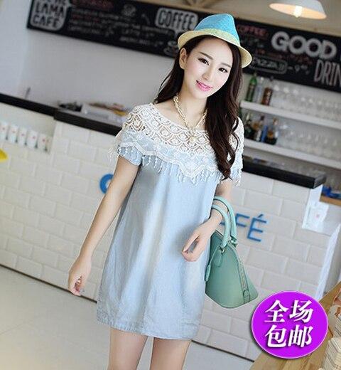 70adb22465a8d maternity dresses Maternity summer Korean fashion lace denim skirt pregnant  women dress long paragraph summer short-sleeved shir