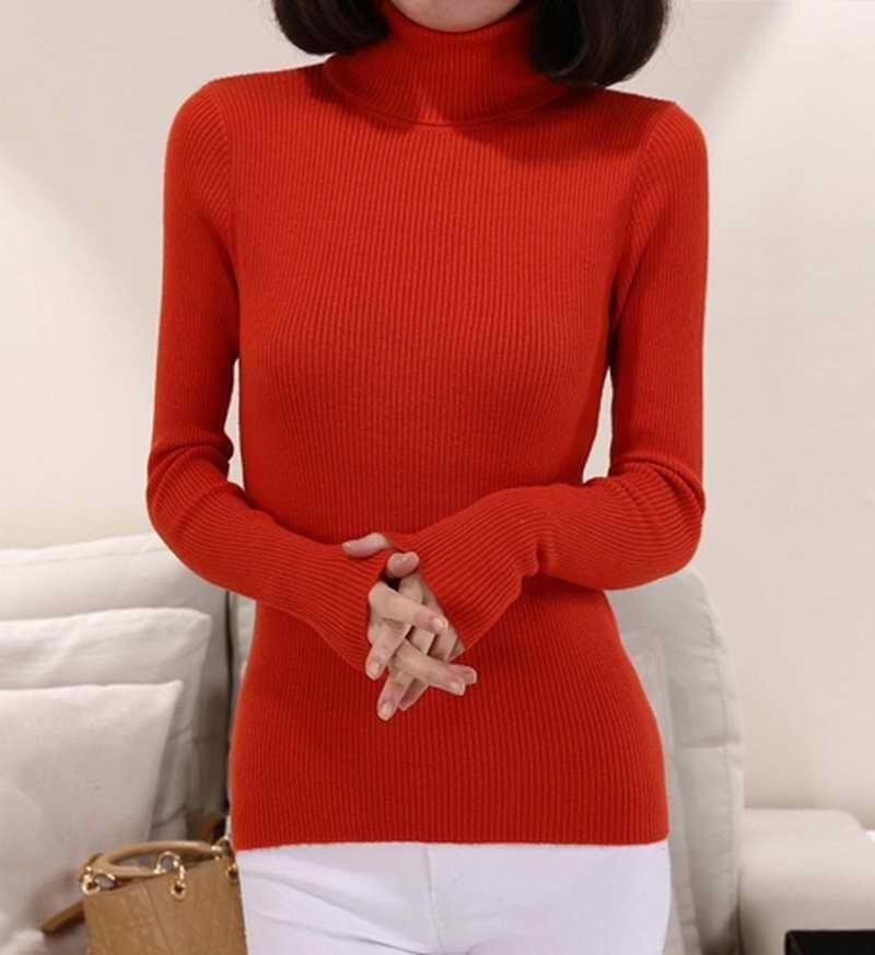 Suéter de Lana de cachemira de Las Mujeres de Cuello Alto Pullover Camisa de Las