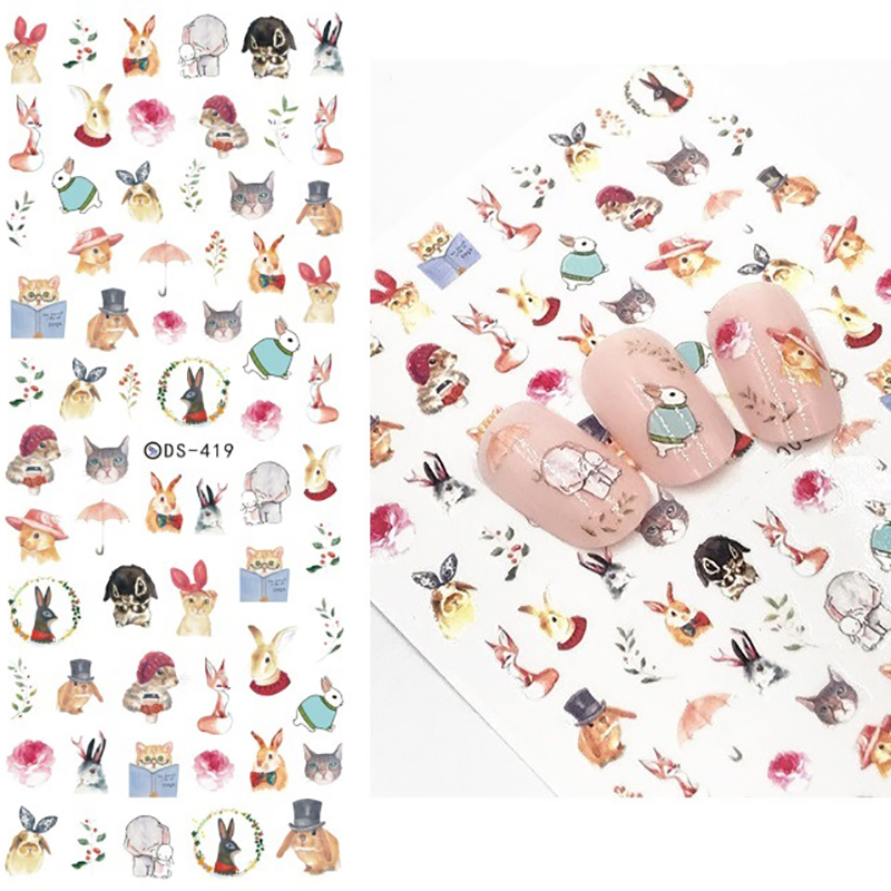 Image 5 - 1 Sheet 7.6*12.2cm Flower Series Daisy Lavender Nail Sticker Animal Series Ocean Cat Plant Transfer Sticker Manicure-in Stickers & Decals from Beauty & Health