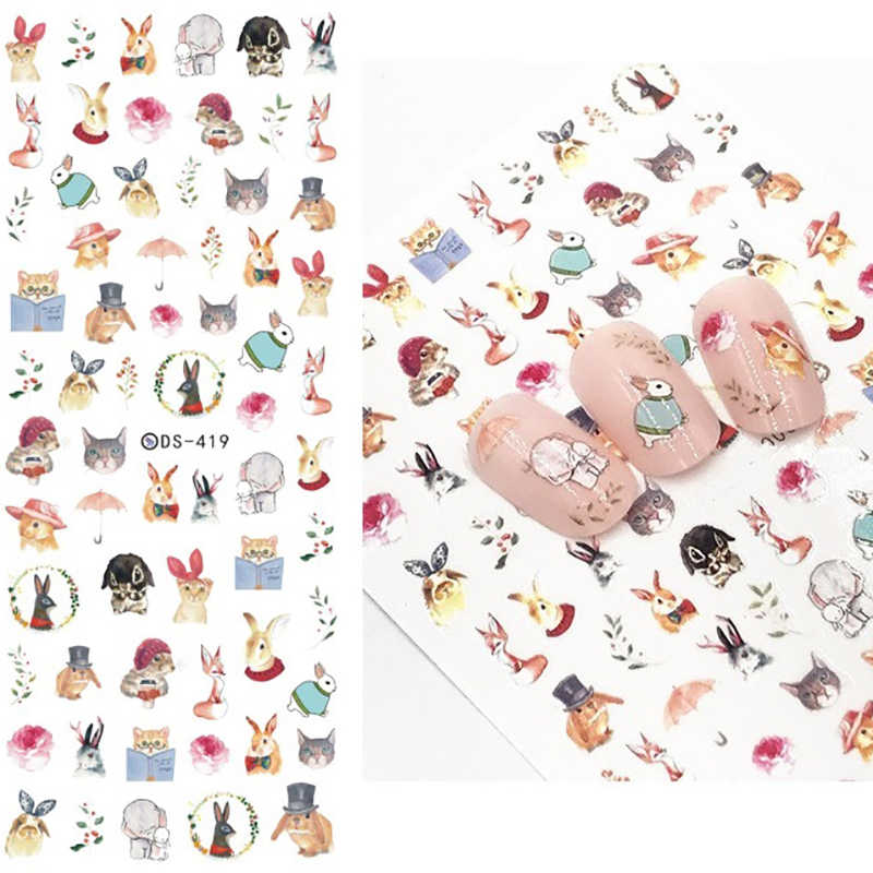 1 Sheet 7.6*12.2cm Flower Series Daisy Lavender Nail Sticker Animal Series Ocean Cat Plant Transfer Sticker Manicure