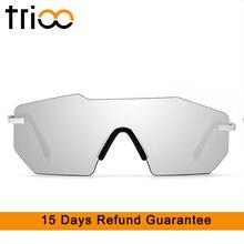 TRIOO Super Cool Cutting Polygon Sunglasses Men Rimless One-Piece Sun Glasses For Men Black Mirror Fashion Future Style Oculos