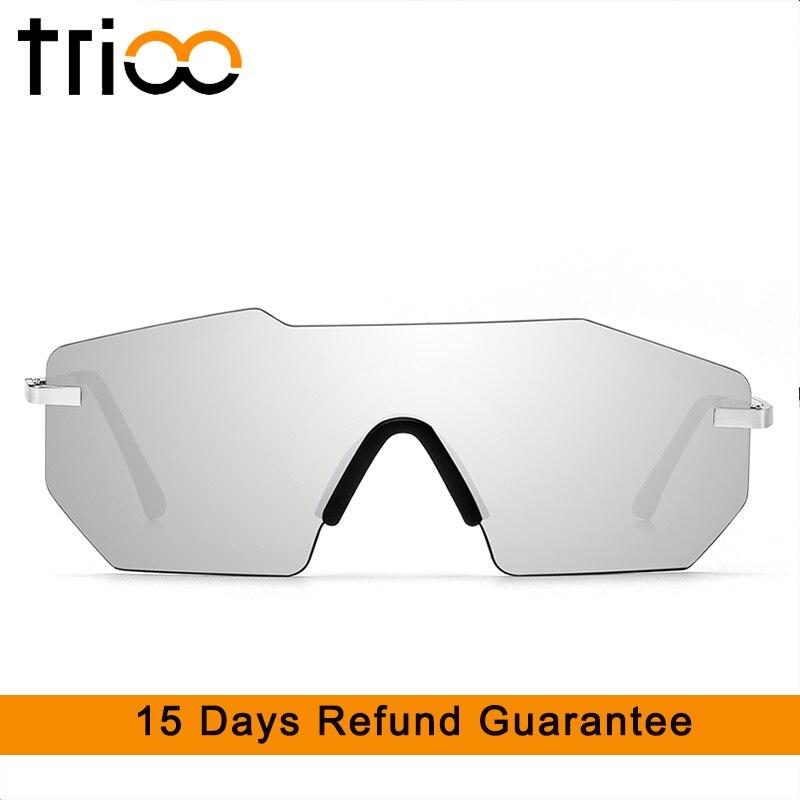 TRIOO Super Cool corte polígono gafas de sol hombres sin montura de gafas de sol para hombres espejo negro moda estilo futuro oculos