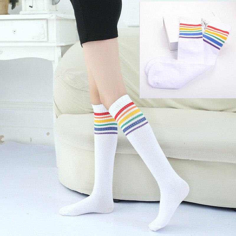 Baby Girl Toddler Kids Knee High Length Cotton Stripes School Sport Preppy Socks