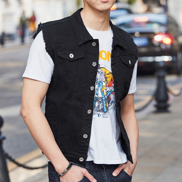 ebd15194d40 NIANJEEP Plus Size Classic Denim Vest Men New Slim Fit Sleeveless Jean  Jacket Vests black Turn-down Collar Waistcoat For Men 3xl